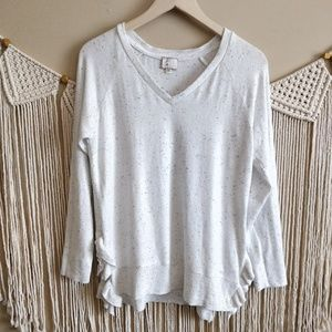 Anthropologie Postmark White Blue Fleck Sweater S